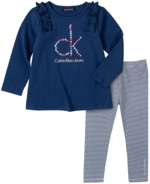 Calvin Klein Toddler Girl Knit Tunic with Stripe Legging, 2 Piece Set