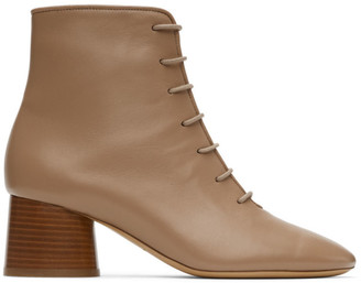 Mansur Gavriel Taupe Leather Lace-Up Boots