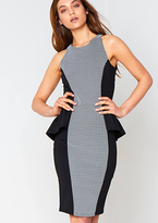 Missy Empire Jessica Black Monochrome Peplum Midi Dress