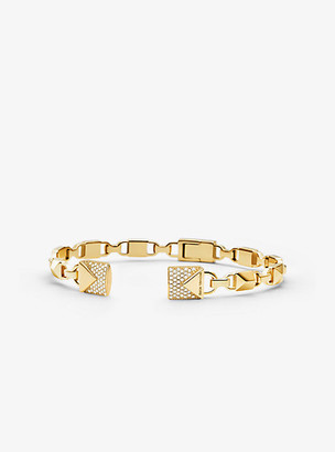 Michael Kors Precious Metal-Plated Sterling Silver Pave Open Hinge Bangle