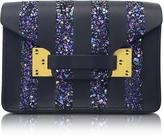 Sophie Hulme Black & Navy Glitter Milner Nano Envelope Bag