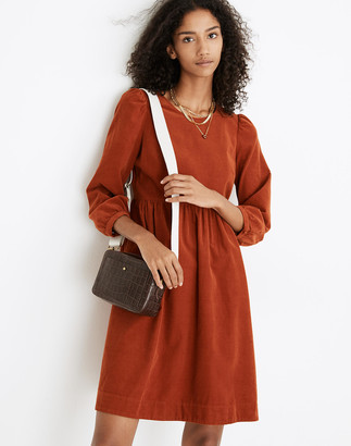 Madewell Corduroy Puff-Sleeve Mini Dress