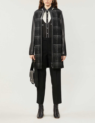 Ted Baker Faux-leather-trimmed checked woven jacket