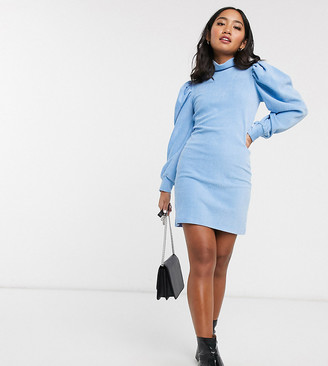 ASOS DESIGN Petite high neck puff sleeve dress in cord