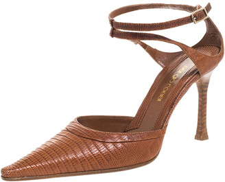 Sergio Rossi Brown Lizard Leather Pointed Toe Ankle Strap Sandals Size 36