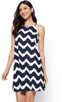 New York & Co. Halter Dress - White - Chevron Print