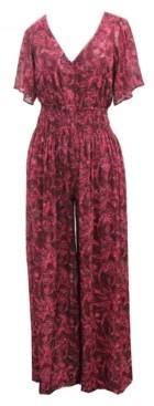 Taylor Petite Smocked-Waist Chiffon Jumpsuit
