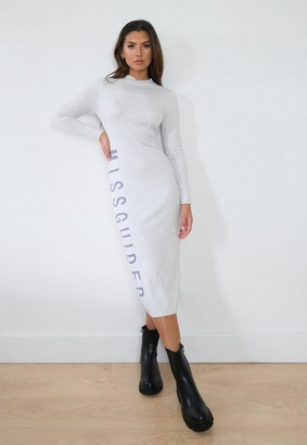 Missguided White Knit Branded Midaxi Dress