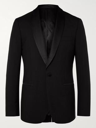 Mr P. Black Slim-Fit Shawl-Collar Faille-Trimmed Virgin Wool Tuxedo Jacket