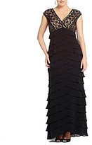 Adrianna Papell Plus Lace Tiered Gown