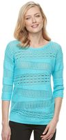 Dana Buchman Women's Open-Work Scoopneck Sweater