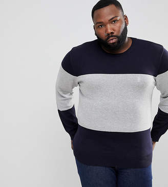French Connection PLUS Cotton Panel Crew Neck-Navy