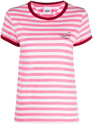 Tommy Jeans horizontal-stripe logo-embroidered T-shirt