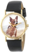 Whimsical Watches Kids' P0130023 Classic Chihuahua Black Leather And Goldtone Photo Watch