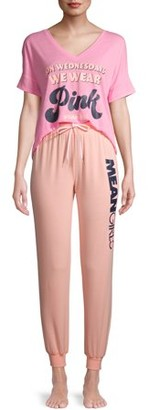 Paramount Mean Girls Women's and Women's Plus Short Sleeve Top and Joggers Sleep Set