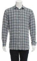 Luciano Barbera Plaid Linen Shirt w/ Tags