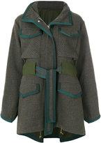 Sacai belted tweed coat - women - Cotton/Leather/Nylon/Wool - 2
