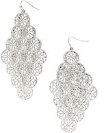 Carole Silvertone Floral Chandelier Drop Earrings