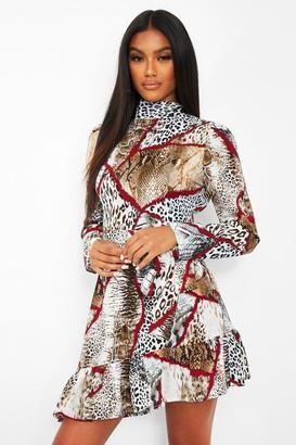 boohoo Chain Print High Neck Tie Waist Skater Dress