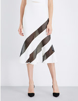 David Koma Lace-detail stretch-crepe midi skirt