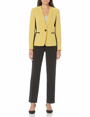 Le Suit LeSuit Women's 1 Button Collarless Color Block Stretch Crepe Slim Pant Suit