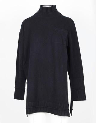 Lamberto Losani Black Wool, Silk and Cashmere Blend Women's Long Sweater