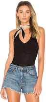 Only Hearts Feather Weight Rib Henley Racer Bodysuit in Black. - size L (also in M,S)