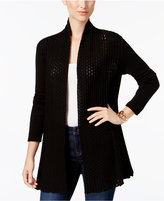 NY Collection Petite Open-Front Pointelle Cardigan