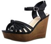 Fergalicious Willa Women Open Toe Synthetic Black Wedge Sandal.