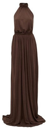 Matteau - The Halter Jersey Maxi Dress - Womens - Brown