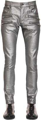 Balmain 15cm Laminated Slim Cotton Denim Jeans