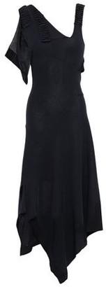 Victoria Beckham Asymmetric Draped Metallic Stretch-knit Dress