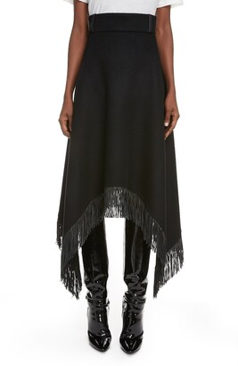 Saint Laurent Fringe Shark Bite Hem Wool & Cashmere Skirt