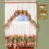 Kohl's Country Garden 3-piece Swag Tier Kitchen Window Curtain Set