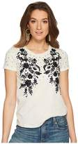 Lucky Brand Embroidered Sequin Tee Women's T Shirt