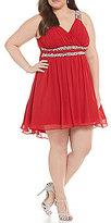 Jodi Kristopher Plus V-Neck Double Trimmed Waist Party Dress