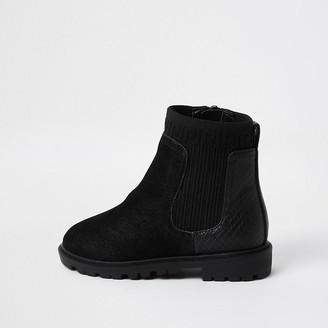 River Island Mini girls Black knit clumpy boots
