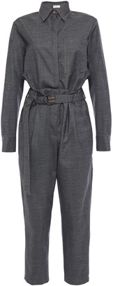 Brunello Cucinelli Cropped Belted Houndstooth Wool Jumpsuit