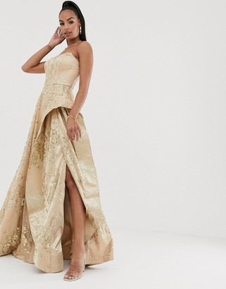 Bariano strapless glitter ballgown in rose gold
