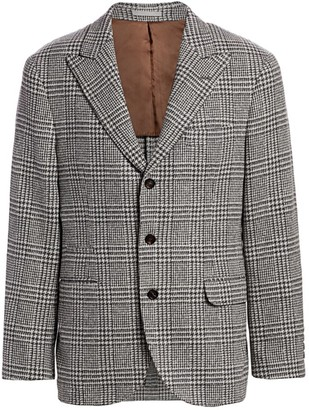 Brunello Cucinelli Houndstooth Checker Wool Jacket