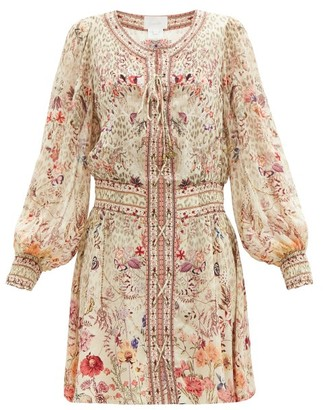 Camilla Laced Drifting Dreamer-print Silk Dress - Cream Print