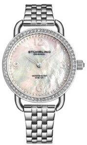 Stuhrling Original Women's Silver Tone Stainless Steel Bracelet Watch 38mm