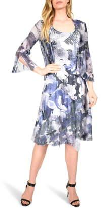 Komarov Floral Tiered Chiffon Dress with Jacket