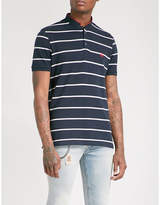 The Kooples Logo-embroidered striped cotton-piqué polo shirt
