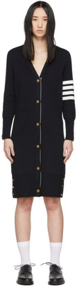 Thom Browne Navy Milano Stitch 4-Bar Long Cardigan