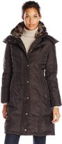 London Fog Women's Chevron Down Coat with Fur Trim Neck