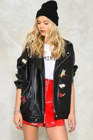 Nasty Gal nastygal Wooster Oversized Embroidered Moto Jacket