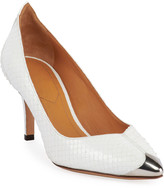 Isabel Marant Pavis Snakeskin Metal-Toe Pumps, White