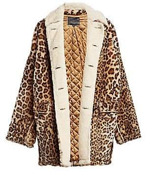R 13 Women's Hunting Leopard Print Shearling-Lined Jacket