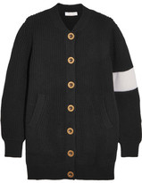 Chloé Two-tone Wool Cardigan - Black